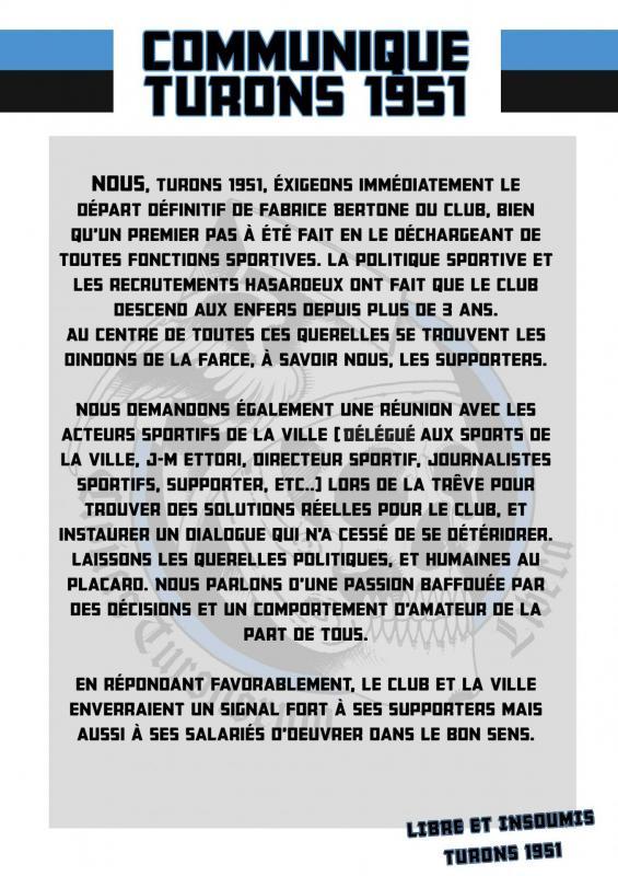 COMMUNIQUE BERTONE/CLUB/REUNION 29/11/2017