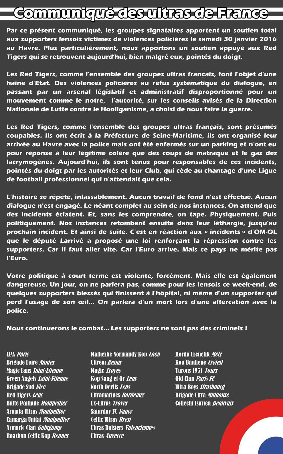 Communiqué des ultras de France 2016